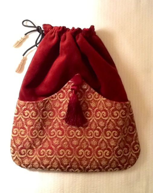Elegant Velour Drawstring Pouch with Vintage Button and Tassel @ Janina Designs