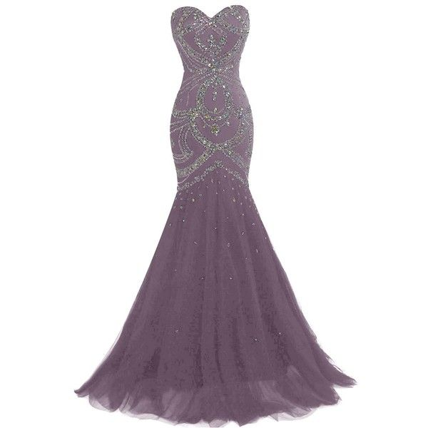 Dresstells Long Mermaid Prom Dress Corset Back Tulle Evening Gowns... (£125) ❤ liked on Polyvore featuring dresses, gowns, long prom gowns, beaded prom dresses, purple corset, long gowns and prom ball gowns