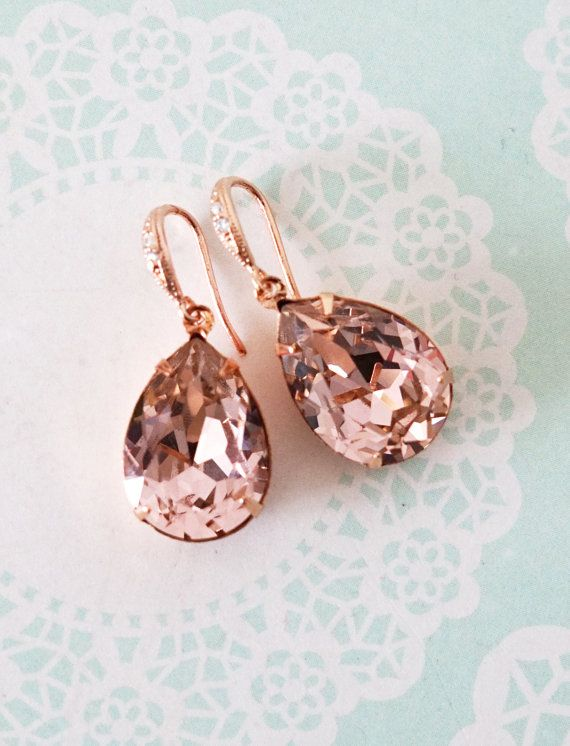 Vintage Rose Pink Swarovski Crystal Teardrop (13mm x 18 mm) in roes gold plated closed back stone settings. Cubic zirconia Teardrop earrings, rose