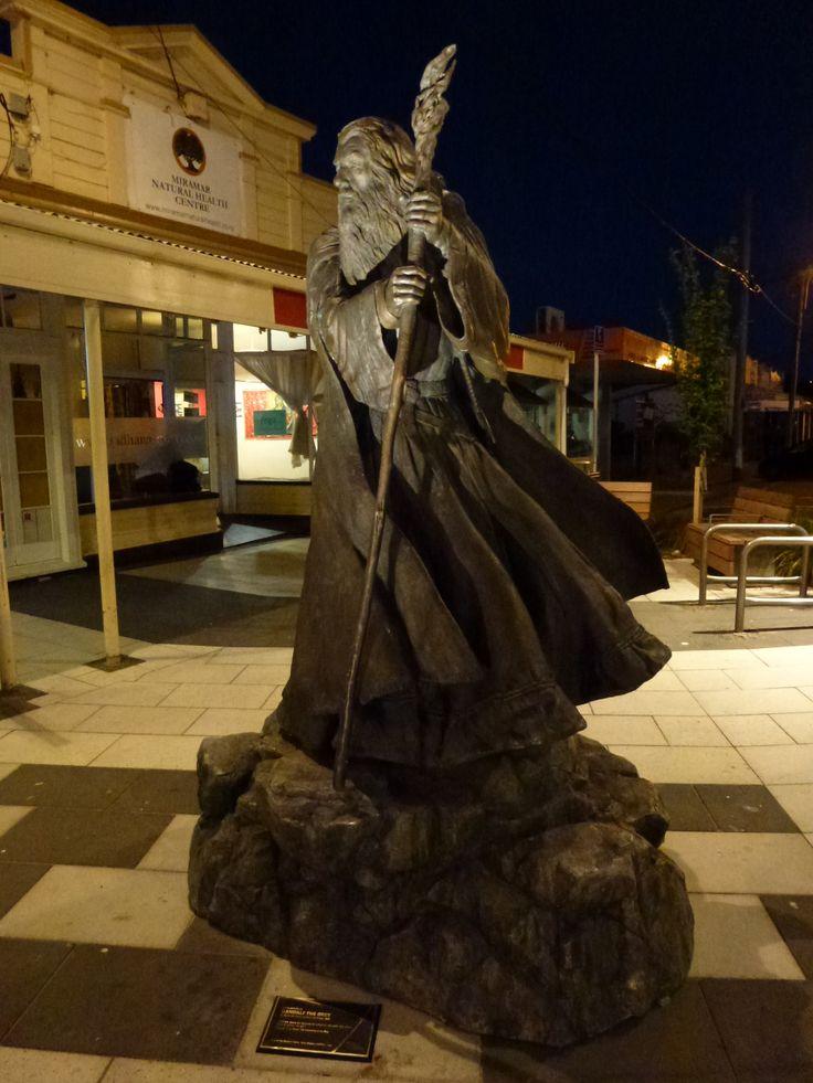Gandolf statue in Miramar Town Centre, lighting by S&T Lighting