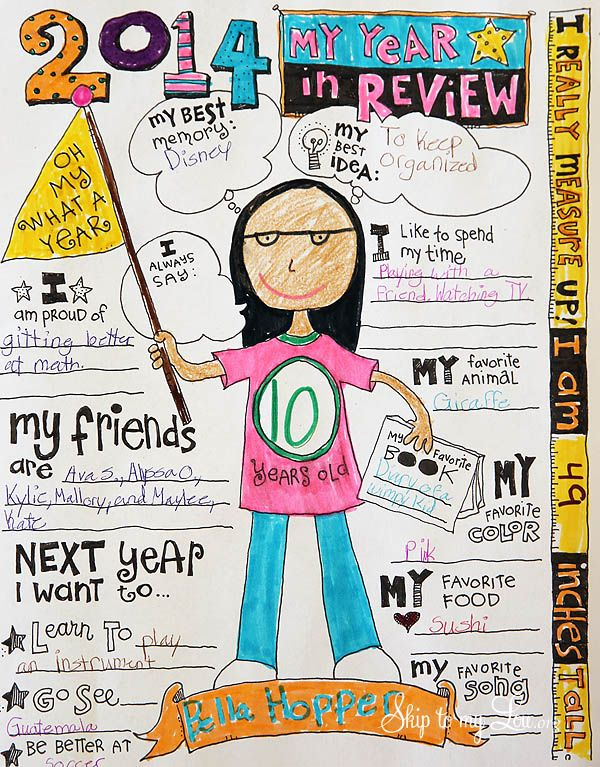 Year in review free printable. Simply print at home and have your kiddos color and fill in their information about their past year. Perfect for a scrap book or keepsake. #print #2014 skiptomylou.org
