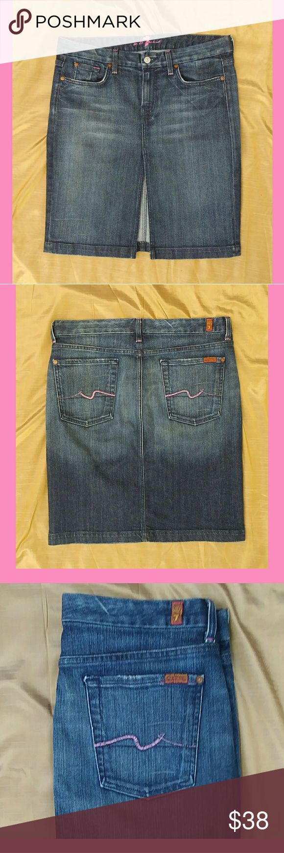 Jean skirt by 7 For All Mankind Super flattering pencil Style denim skirt with pink stitching and Factory distressing. Disclosure I am the second owner however while with me always washed on gentle laid flat to dry in excellent condition 7 For All Mankind Skirts Pencil
