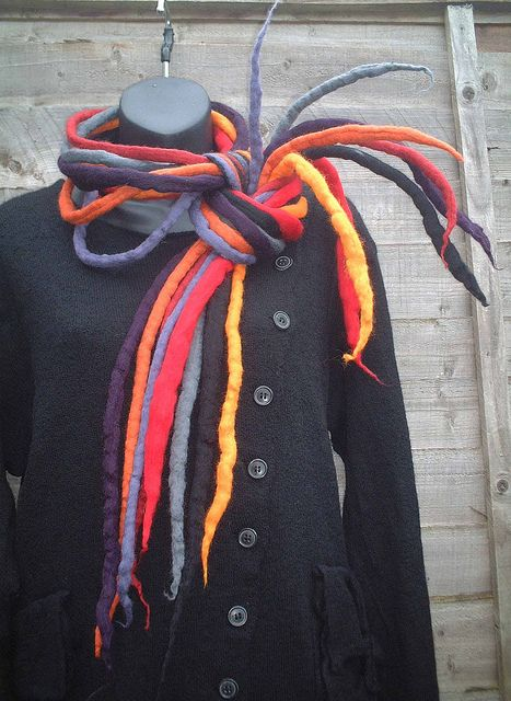 spiky necklace / scarf red orange purple 2 | Flickr - Photo Sharing!