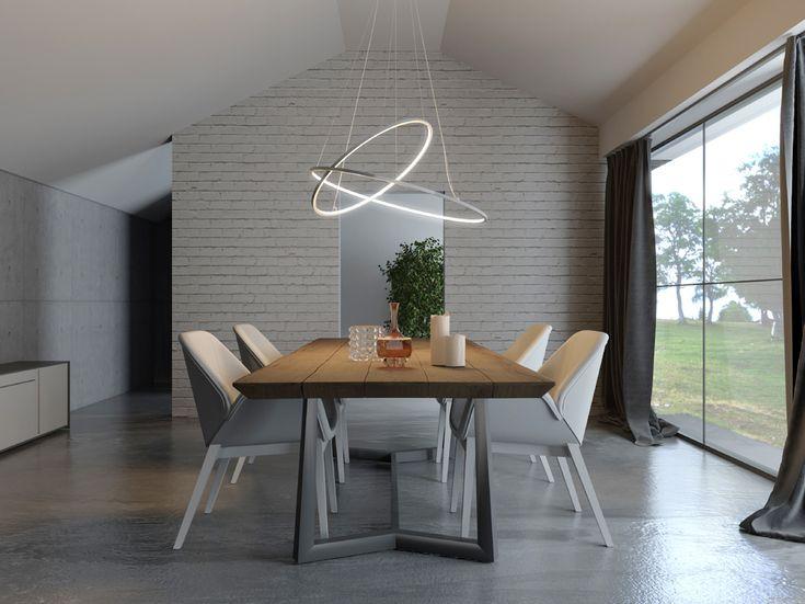 Biluce Opposit Lampadario LED con anelli Bianco, Nero ...