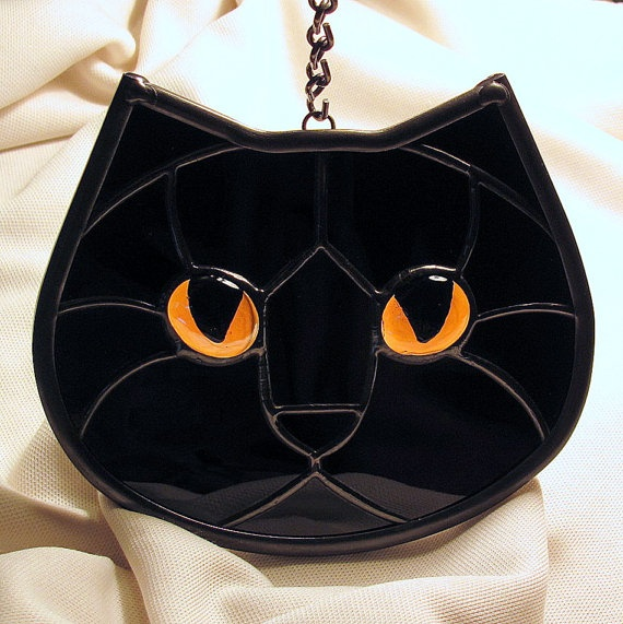 Stained Glass Black Cat Face Golden Eyes by LivingGlassArt on Etsy, $40.00