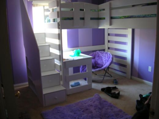 L086 Twin Twin L Shape Loft Bed Frontier Style For