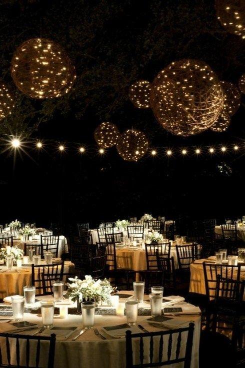 Casamento ao ar livre sob a luz das estrelas. #decor