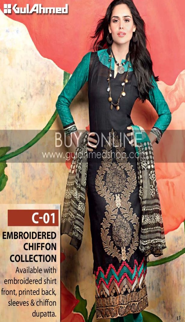 Latest Pakistani Fashion,Bollywood Fashion,Hollywood Fashion,Ladies Fashion,Men Fashion.: Gul Ahmed Winter Collection New Arrival 2013. Black and green printed suit.