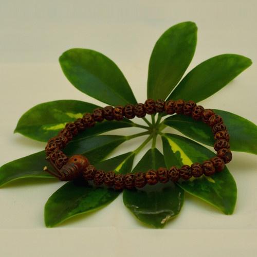 Nakali Buddhist Jewelry Rudraksha Bodhi Seed Prayer Bead Bracelet Brown Red New