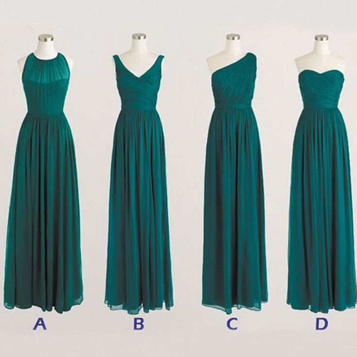 Best Sale Cheap Simple Mismatched Styles Chiffon Floor-Length Formal Long Teal Green Bridesmaid Dresses, WG183 The long bridesmaid dresses are fully lined, 4 bones in the bodice, chest pad in the bust