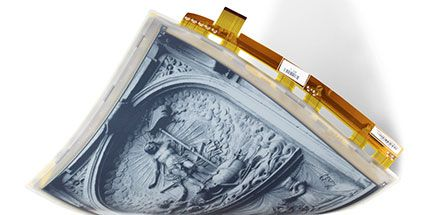 E Ink Mobius: Flexible Active Matrix Mobius is a new flexible display that uses flexible TFT technology that is better suited for large format ePaper devices, allowing designers to create a rugged, lightweight device.