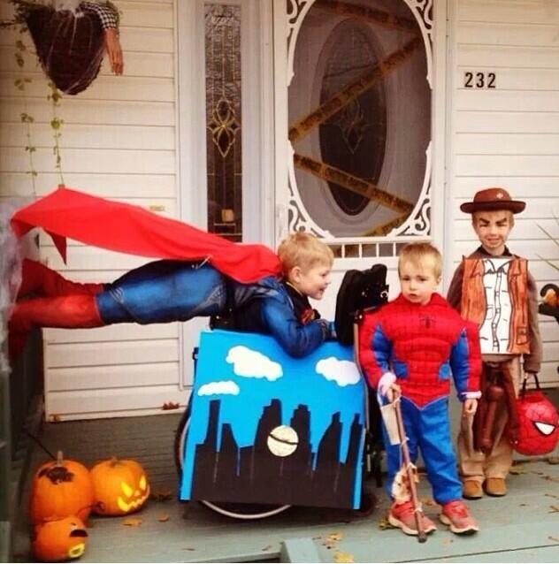 flying superman wheelchair costume