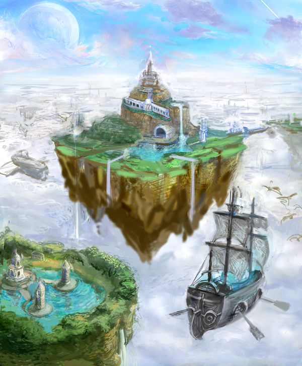 how to draw a floating island