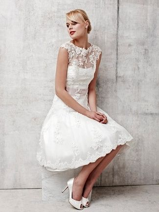 20 Short Wedding Dresses & Gowns {Trendy Tuesday} | Confetti Daydreams - Benjamin Roberts knee-length bridal gown with a beautiful sheer lace overlay ♥  ♥  ♥ LIKE US ON FB: www.facebook.com/confettidaydreams  ♥  ♥  ♥ #Wedding #WeddingDress #BridalGown #Bridalwear