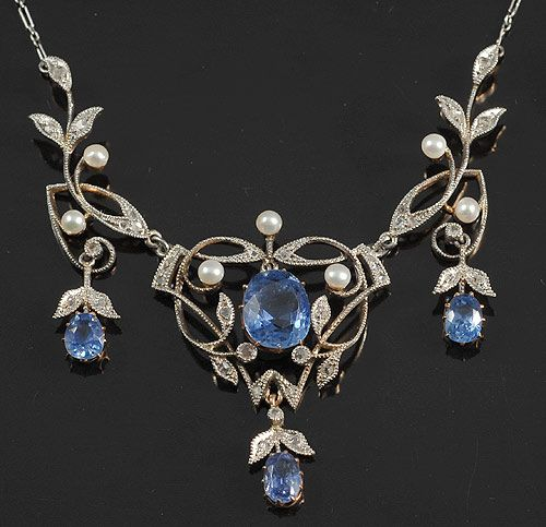Natural cornflower Ceylon sapphires diamond and pearl filigree necklace, c. 1900