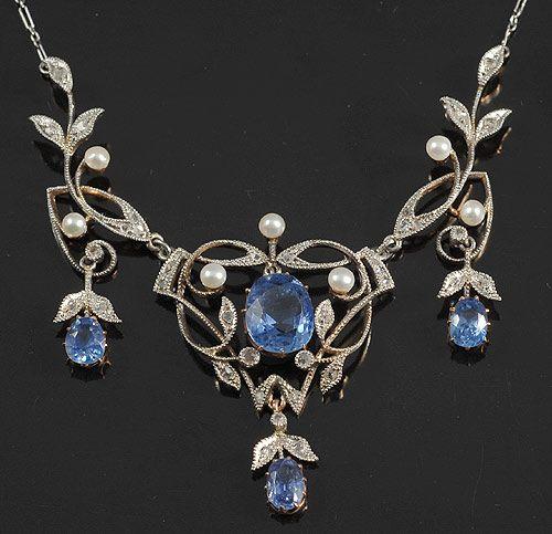 Natural cornflower Ceylon sapphires diamond and pearl filigree necklace, c. 1900