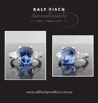 18ct white gold handmade three stone design with a double claw set 3.33ct cushion cut sapphire, framed by 0.80ct of pear shape diamonds.  This piece now sits proudly in our window, be sure to stop by for a look (or drool)...