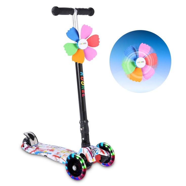 Kick Scooters for Kids, KUOKEL Folding Kick Scooter Height Adjustable LED PU Flashing 4 Wheels Colorful Foldable with Gorgeous Graffiti Mini Winnower, Kids Gift for Christmas, Birthday, Holiday