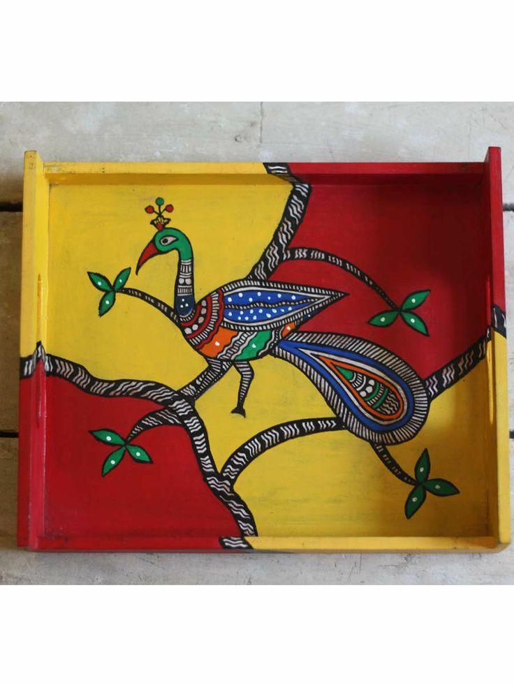 Madhubani Painting on a tray (HM) • The Color Caravan