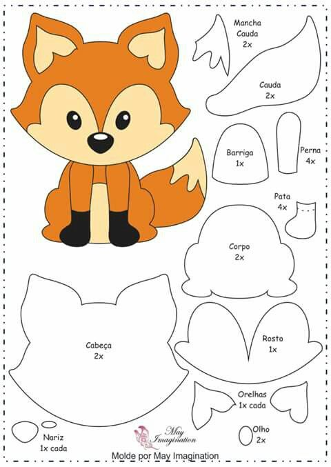 felt foxtemplate  use it with fodant/gum paste
