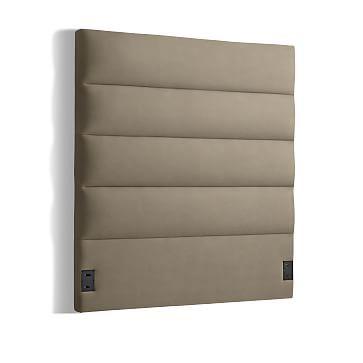 Panel Tufted Headboard, Full, Basketweave, Raisin