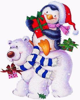 CHRISTMAS BEAR AND PENGUIN