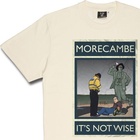 In another of our series of modern reflections on classic British seaside holiday posters we present a jewel of Lancashire, it's golden sands caressed by the icy waters of the Irish sea. Morecambe: It's Not Wise.