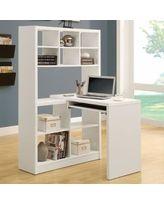 Monarch Hollow-Core Left or Right Facing Corner Desk with Hutch - White