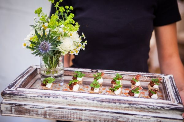 A fabulous way to serve your canapes using vintage props and fresh flowers. http://www.sarahleggephotography.co.uk/