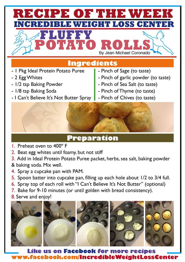 Fluffy potato rolls made with the Ideal Protein Potato Puree. All phases approved! Enjoy this recipe while the rolls are still warm and fresh, as they get a little stale after cooling down.