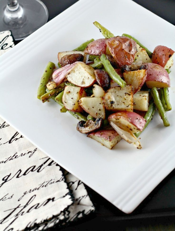 Green Beans and Potatoes - roasted in the oven