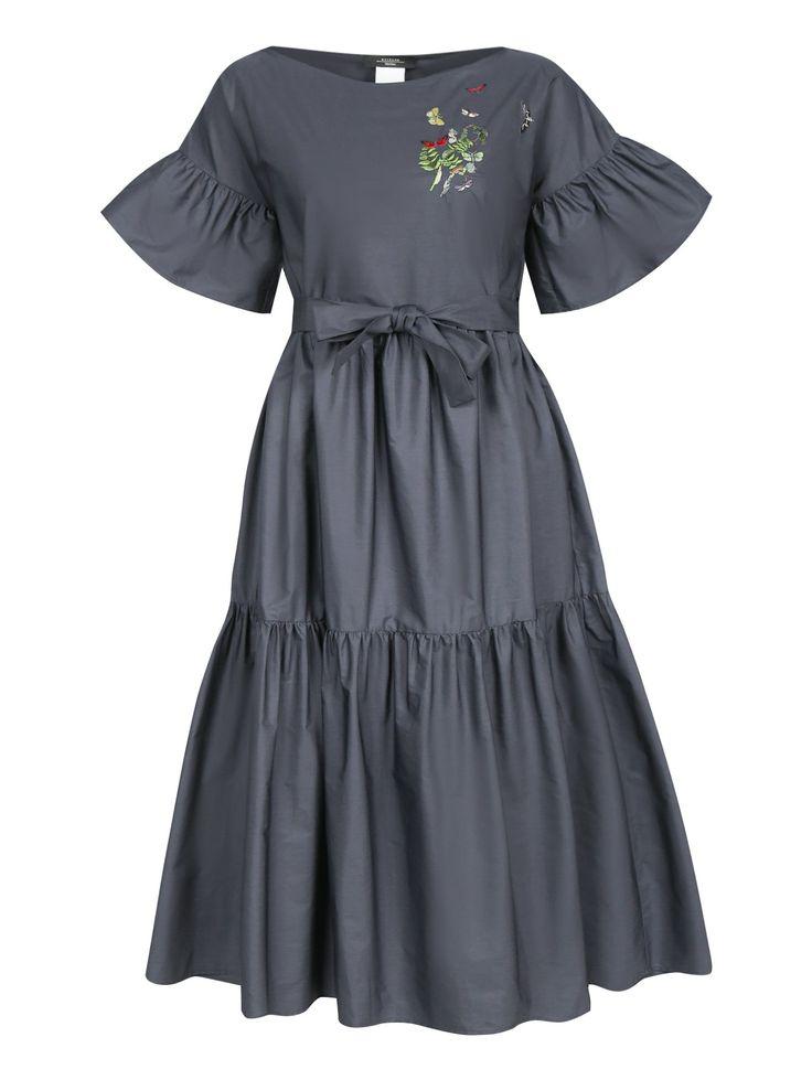 Купить Weekend MaxMara синее платье-миди из хлопка с вышивкой (389794), цена на платье в интернет-магазине Bosco.ru – 28 800 руб.