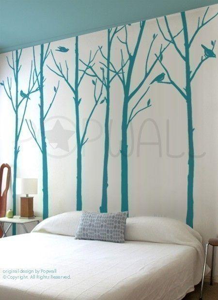 Aves frondosas de la etiqueta de la pared de árbol de por NouWall