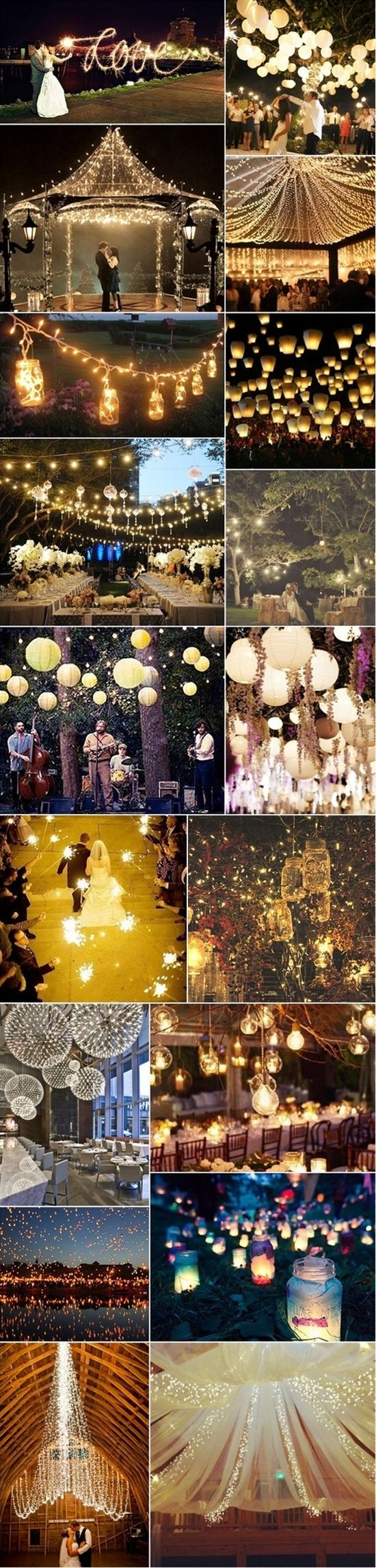 I loveeee all these lights! - Click image to find more Weddings Pinterest pins