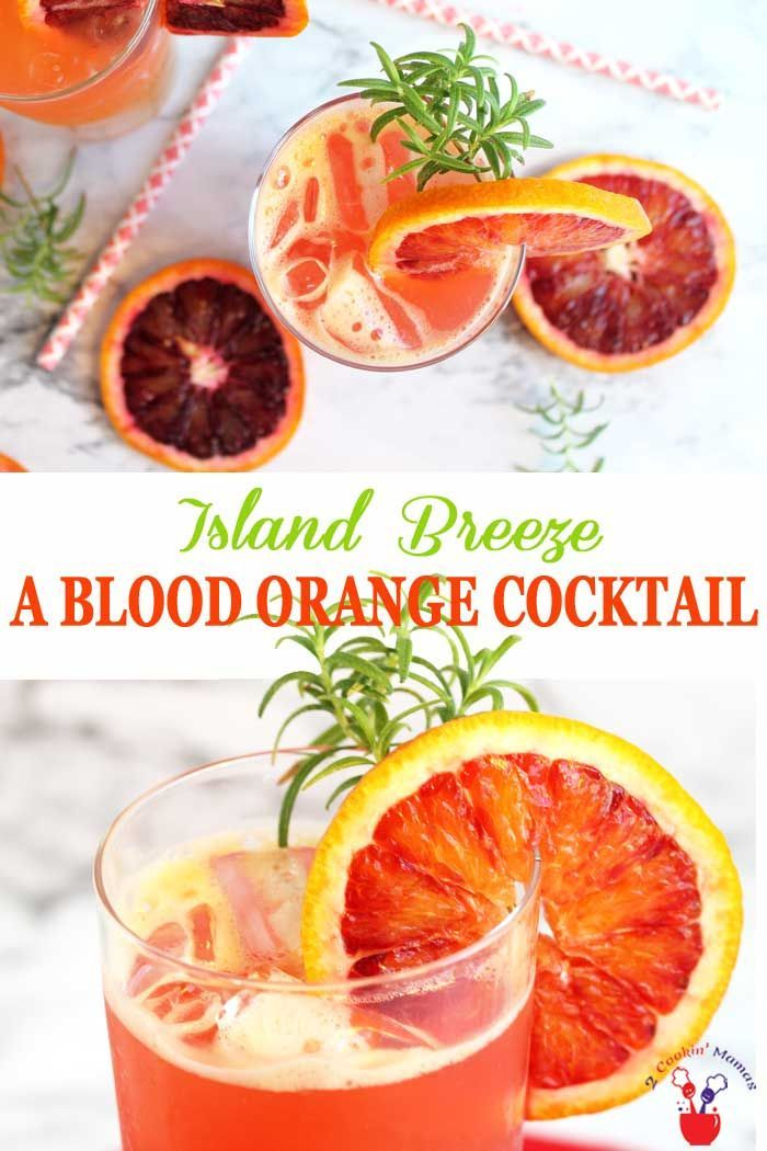 Get ready for summer with this tropical blood orange cocktail based on a Sea Breeze. The Island Breeze substitutes blood orange for the grapefruit juice in this vodka drink while Cointreau is added to boost the delicious orange flavor. Easy and refreshing to make singly or by the pitcher. #cocktail #bloodorangecocktail #summercocktail #vodkadrink #bloodoranges via @2CookinMamas