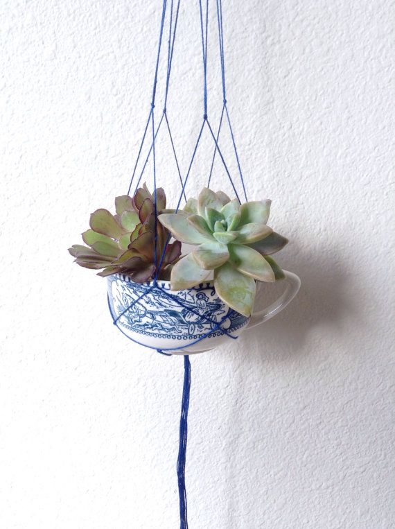 Vintage Blue Teacup Planter ~ Mini Hanging Macrame ~ Succulent Planter ~ Air Plant Planter ~ Bohemian Style Handmade Macrame ~ Beach Decor