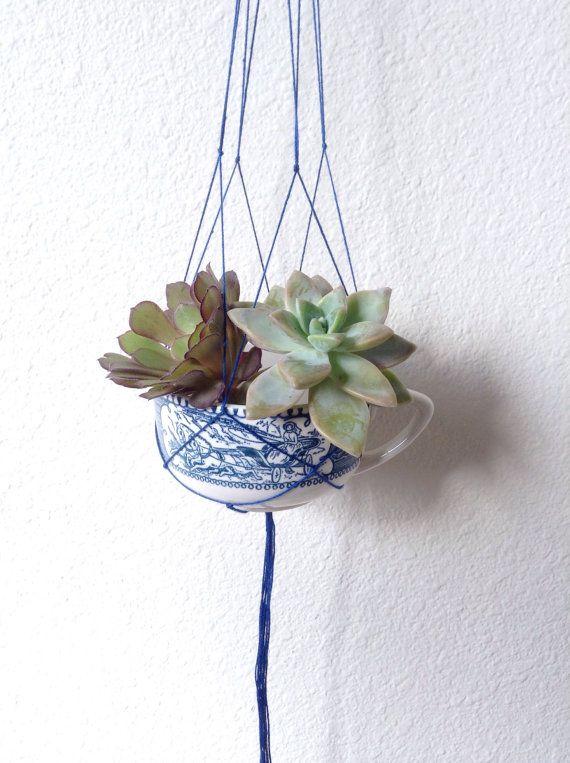 Vintage Blue Teacup Planter ~ Mini Hanging Macrame ~ Succulent Planter ~ Air Plant Planter ~ Bohemian Style Handmade Macrame ~ Beach Decor