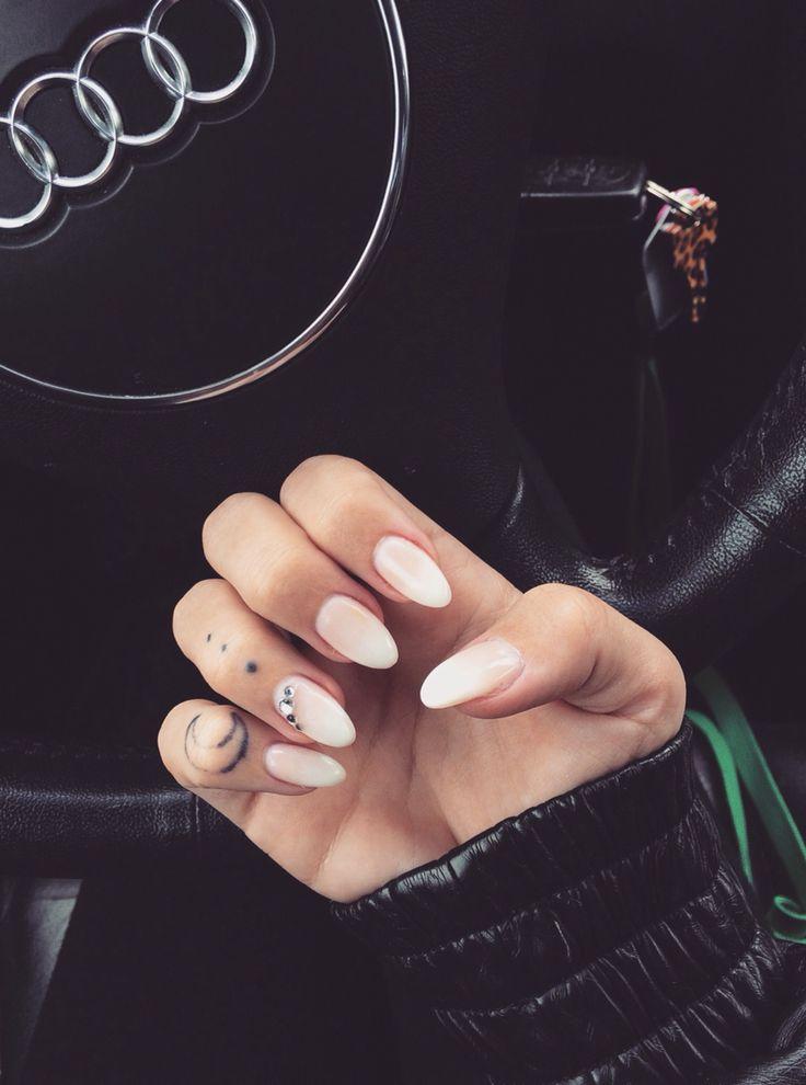 | Gel Nails | Nails | Almond Nails | French Fade | Jewels | Nail Art |