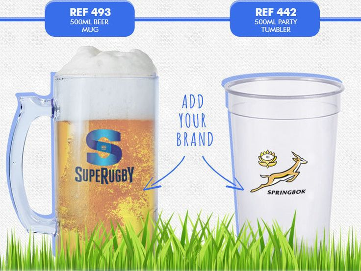 Lumo Beer Mug - Clear Polystyrene or Solid Colours. Lumo Party Tumbler 500ml - thin wall LITE product. Minimum order of 250. Optional Branding. REF 493, 500ml beer mug REF 442, 500ml party tumbler