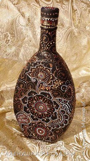 Декор предметов Роспись Точечная роспись бутылок Краска Стекло фото 1