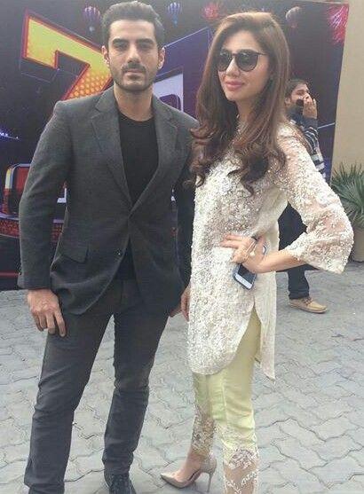 Pakistani actors Adeel Hussain & Mahira Khan, promoting their upcoming film 'Ho Mann Jahan'.