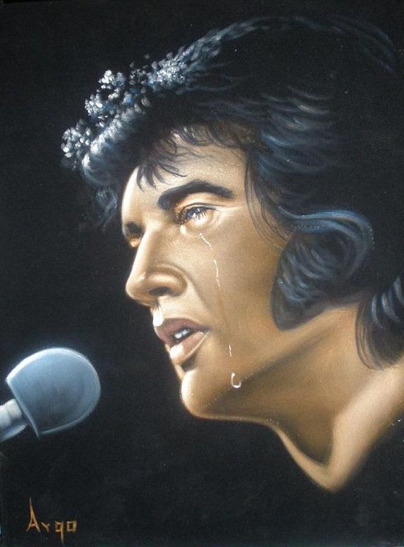Elvis Presley The king  black velvet original by VelvetPaintings, $98.00