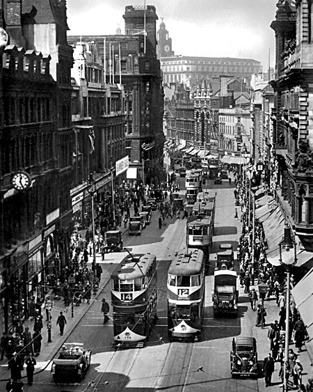 1930s Church Street, Liverpool. Looking towards James Street. Should have kept those trams.