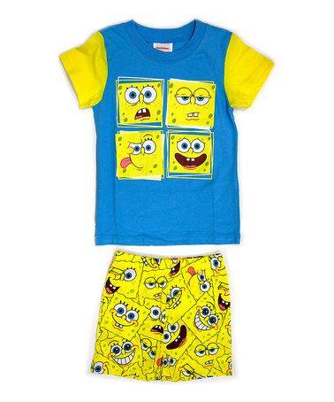 Another great find on #zulily! Yellow & Blue SpongeBob Pajama Set - Toddler & Boys #zulilyfinds