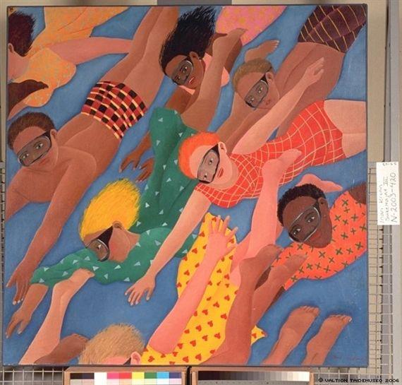 Inari Krohn: Sukeltajat III, 1971, painting, 120x120 cm - Mutual Art