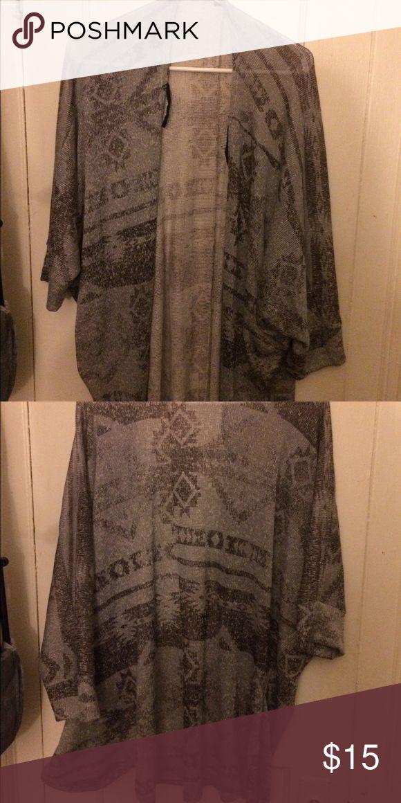 Tribal Print Cardigan Semi-long half sleeved gray tribal print cardigan. Comfy and fitting Wet Seal Sweaters Cardigans