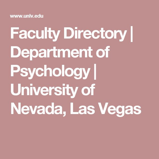 Faculty Directory | Department of Psychology | University of Nevada, Las Vegas