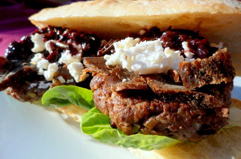 Ostrich Burgers with Biltong, Feta and Red Wine Sauce
