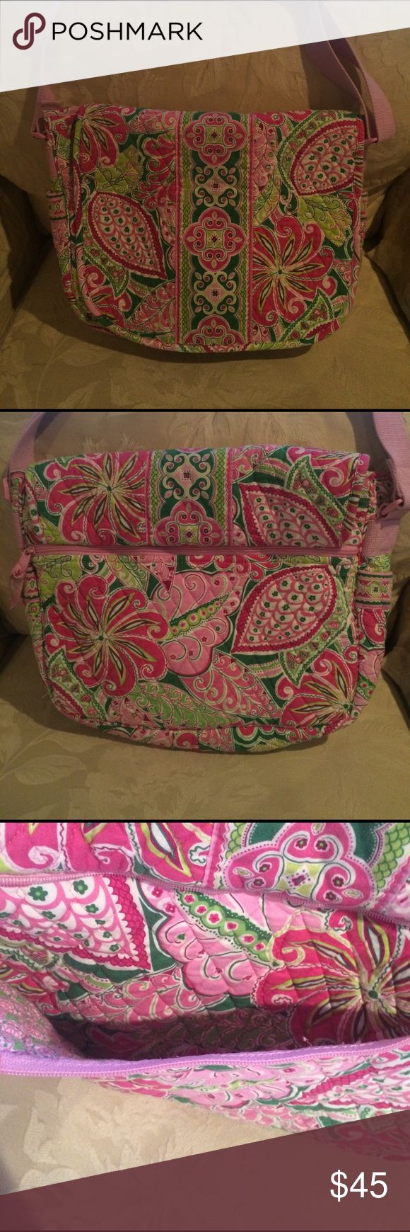 Vera Bradley Pinwheel Pink Laptop Messenger bag Virtually zero wear. Perfect for students and moms. Many compartments. Pinwheel pink fabric quilted bag. Could be a travel bag or diaper bag. Preppy pink and green. Vera Bradley Bags Laptop Bags