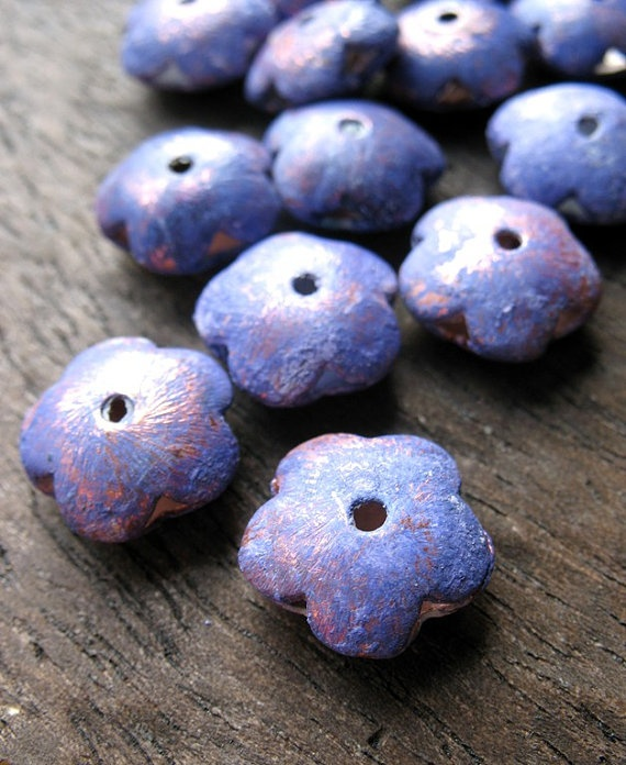 Lavender Flowers  Artisan Patina Copper Beads by missficklemedia